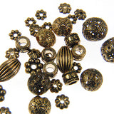 Assorted Antique & Filigree Metal Beads-Antique Copper (40 pieces)