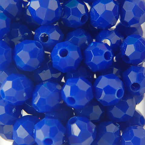 Dk. Blue - Faceted Opaque Plastic Beads (8mm)