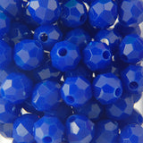 Dk. Blue - Faceted Opaque Plastic Beads (Choose Size) (Pack)