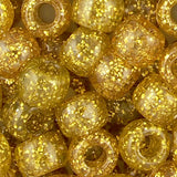 Pony Beads, 9x6mm, Transparent Glitter Gold (650 Pieces)