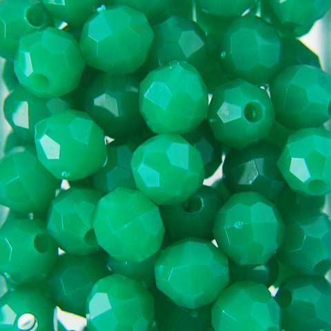 Green - Faceted Opaque Plastic Beads (10mm)