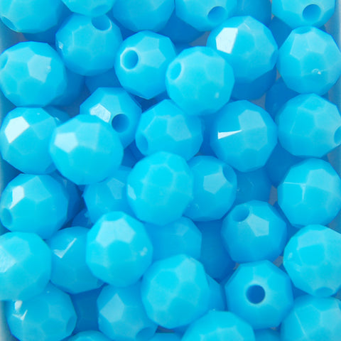 Lt. Blue - Faceted Opaque Plastic Beads (Choose Size) (Pack)