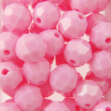 Lt. Pink - Faceted Opaque Plastic Beads (8mm)