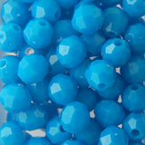 Lt. Turquoise - Faceted Opaque Plastic Beads (12mm)