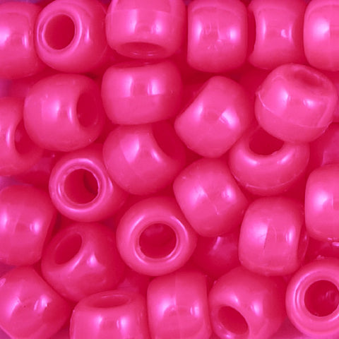 Pony Beads, 9x6mm, Opaque Neon Pink (650 Pieces)
