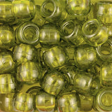 Pony Beads, 9x6mm, Transparent Olive (650 Pieces)