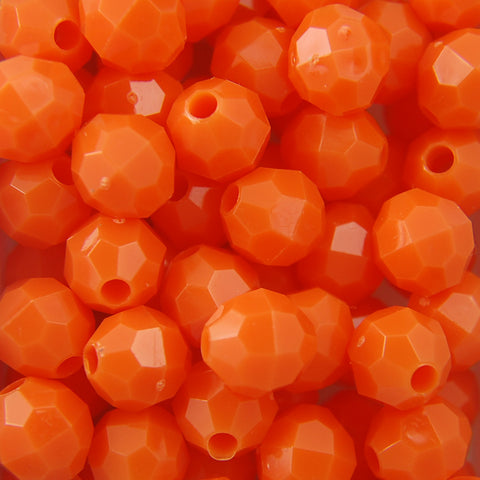Orange - Faceted Opaque Plastic Beads (10mm)