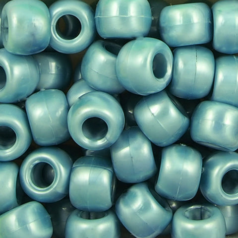 Pony Beads, 9x6mm, Opaque Pearl Teal (650 Pieces)