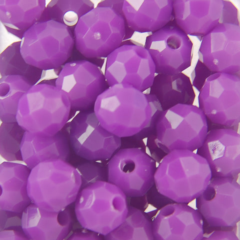 Purple - Faceted Opaque Plastic Beads (Choose Size) (Pack)