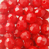Red - Faceted Opaque Plastic Beads (8mm)