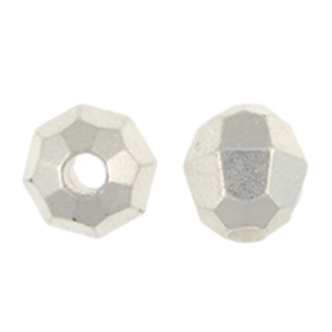 6mm Faceted Metallized Acrylic Beads-Silver (200 pieces)