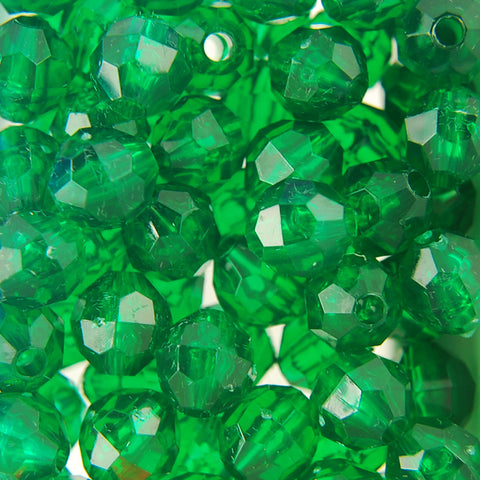 Tr. Green - Faceted Transparent Plastic Beads (Choose Size) (Pack)
