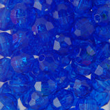 Tr. Dk. Sapphire - Faceted Transparent Plastic Beads (6mm)