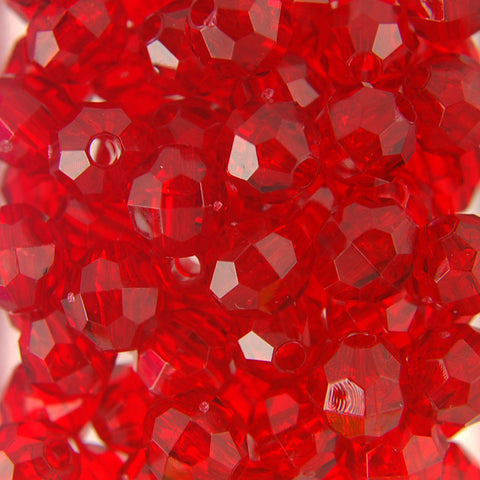 Tr. Raspberry - Faceted Transparent Plastic Beads (6mm)