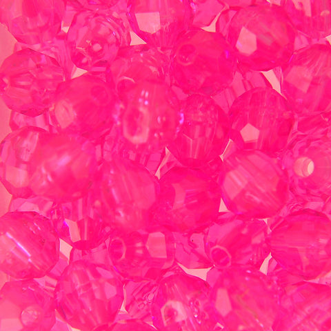 Tr. Shocking Pink - Faceted Transparent Plastic Beads (8mm)