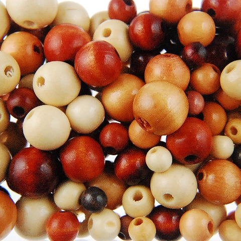 Med Wood Bead Mix Natural (150 Pieces)