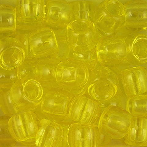 Pony Beads, 9x6mm, Transparent Yellow (650 Pieces)
