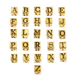 Alphabet Cube Beads, Pewter, 5.5mm w/ 3mm hole, Antique Gold (Choose Letter) (Each)