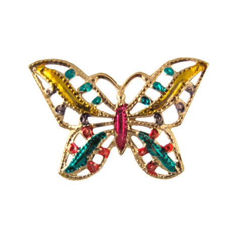 Vintage Colored Butterfly Stampings Gold Plated Charms - 44mm x 32mm (36PCS)