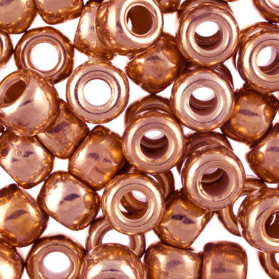 Pony Beads, 9x6mm, Metallic Copper-Plated (144 Pieces)