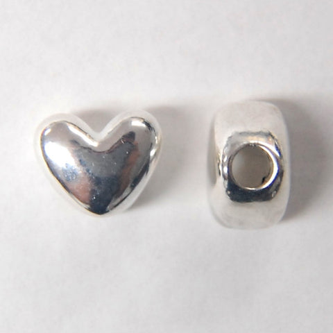 Heart Pony Beads, Metallized Silver Plated (100 Pieces)