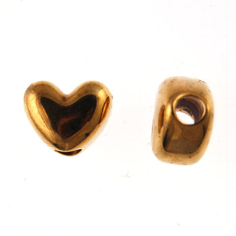 Heart Pony Beads, Metallized Bronze Color (100 Pieces)
