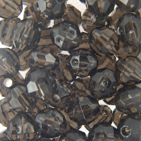 Tr. Black Diamond - Faceted Transparent Plastic Beads (4mm)