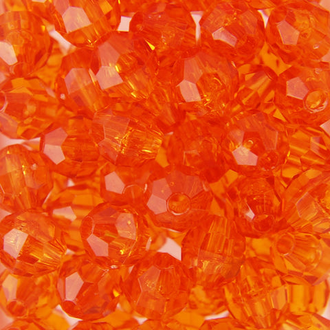 Tr. Orange - Faceted Transparent Plastic Beads (Choose Size) (Pack)