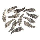 30mm Feathered Angel Wing Bead (Silver) (12 PCS)