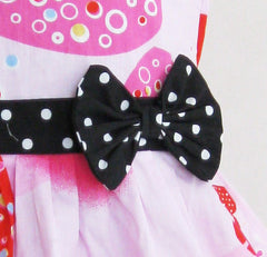Girls Pink Heart Print Bow Tie Party