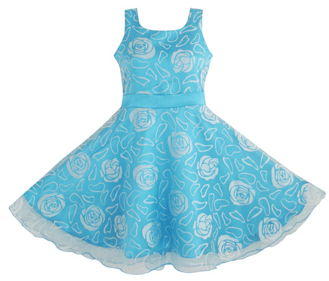 Girls Dress Blue Rose Wedding Pageant Size 4-12 Years