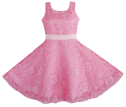 Girls Dress Pink Rose Wedding Pageant Size 4-12 Years