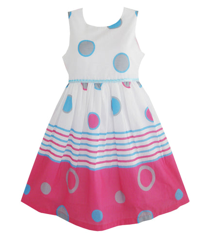Girls Dress Blue Dot Pink Partyren