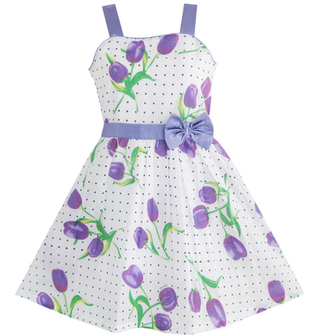 Girls Dress Purple Rose Dot Party Size 4-12 Years