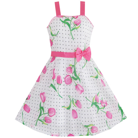 Girls Dress Pink Flower Green Leaves Black Dot Bow Tie