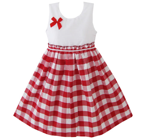 Girls Dress Red Tartan Size 4-10 Years