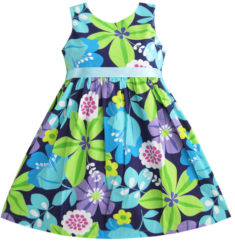 Girls Dress Blue Belt Flower Print Party Size 2-10 Years