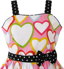 Girls Dress Colorful Heart Print Love Size 4-12 Years