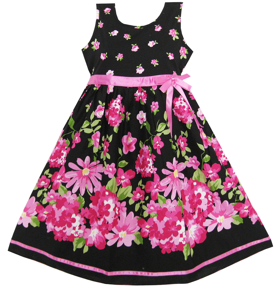 Girls Dress Hot Pink Flower Belt Party Christmas Size 4-12 Years