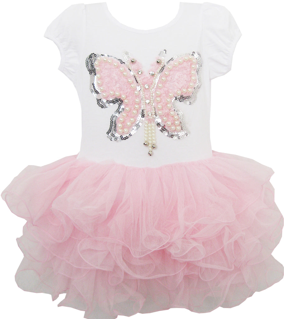 Girls Dress Butterfly Tutu Dance Pageant Party Size 3-7 Years