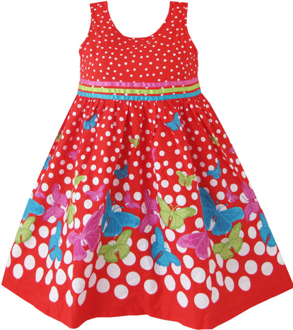 Girls Dress Red Butterfly Party Wedding Christmas Size 4-12 Years