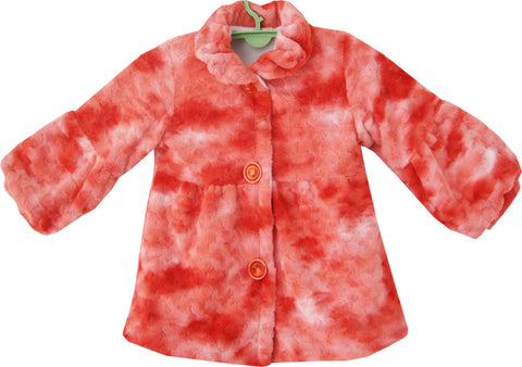 Girls Coat Red Faux Fur Lining Jacket Children Clothes