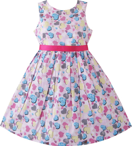 Girls Dress Blue Heart Love Birthday Party Size 2-10 Years