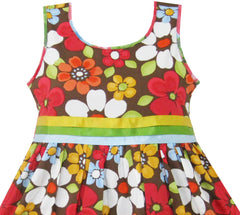 Girls Dress Flower Brown Size 4-12 Years