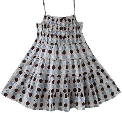 Girls Dress Smocked Grey Beach Sundress Party Kids Clothes Size 2-5 Years