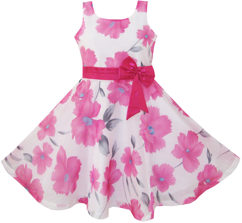 Girls Dress Pink Floral Party Wedding Sunny Fashion