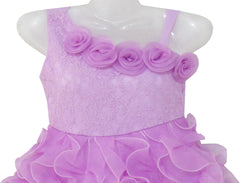 Girls Dress Purple Shoulder Fashion Rose Wedding Pageant Size 6-10 Years