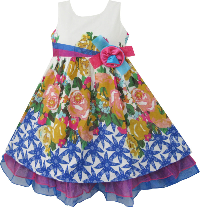 Girls Dress Blue Flower Print Detailed Trim Kids Clothing Size 2-8 Years