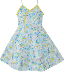 Girls Dress Yellow Pleated Flower Tank Party Size 4-12 Years