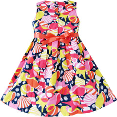 Girls Dress Colorful Shell Cute Print School Size 2-10 Years